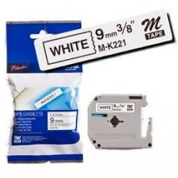 Brother M-K221 M Series Tape, 9mm Black on White