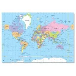 Laminated World Map Political, 70 X 100cm - English