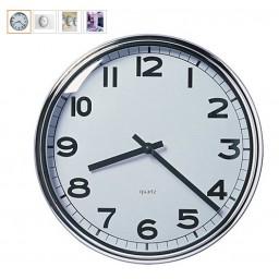 PUGG Quartz Wall Clock Dia 32MM White Stainless Steel Frame