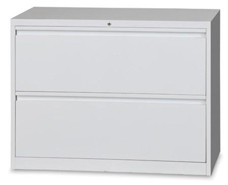 Metal Lateral Filing Cabinet 2 Drawer Grey