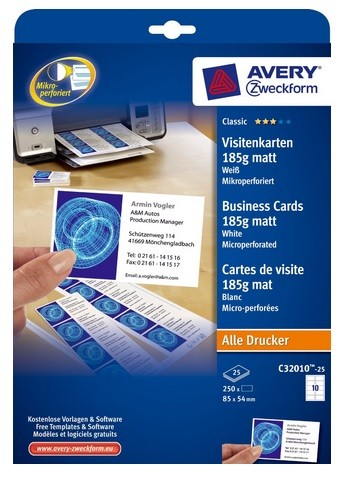 Avery C32010 25 Double Sided Business Cards Matt 185g PK 250