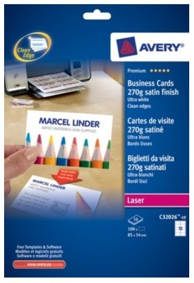 Avery C32026 10 Double Sided Business Cards Satin Finish 270g Pk100