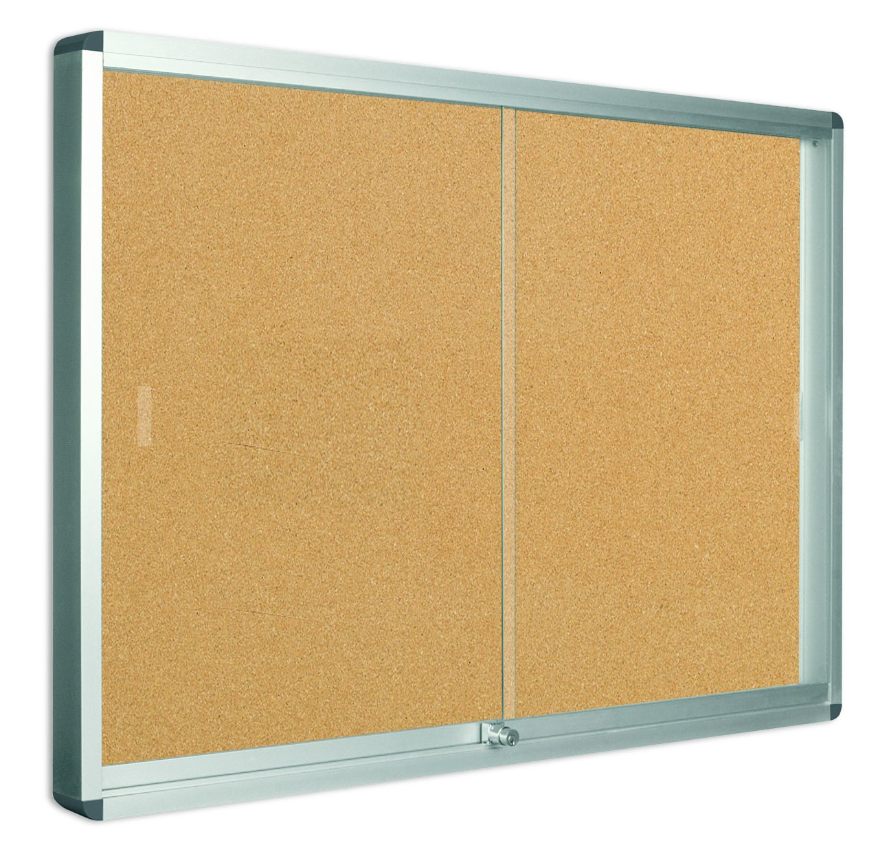 Bi Office Lockable Cork Notice Board 706 X 967mm 8 X A4 Sliding Doors