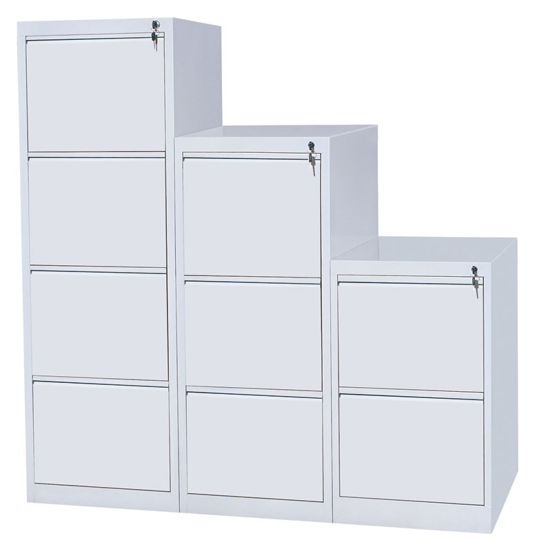 3 Drawer Metal Vertical Filing Cabinet Grey