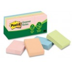 "Post-it® Recycled Notes 1.5"" x 2"", 100 Sh/Pad, [Pack/12]. [653-RP-A]"