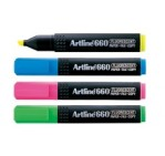 Artline 660 Fluorescent Highlighters, [Wallet of 4] B/G/Y/P