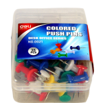 Deli E0021 Push Pins, Assorted Colors, 35 Pcs/Box