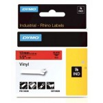 "Dymo 18438 Vinyl Tape - Black on Red 1/2"" [12mm X 5.5m]"