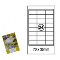 Xel-lent Labels, Straight Corner, 24 Labels/Sheet, 100 Sheets/Pack, 70mmX35mm