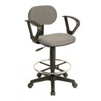 Drafting Chair, Adjustable Height, W/ Arms, Fabric Grey - TAIWAN