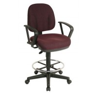 Drafting Chair, Adjustable Height, With Arms, Fabric, Burgundy - TAIWAN