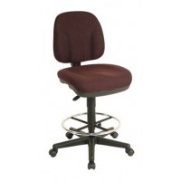 Drafting Chair, Adjustable Height, Fabric, Burgundy - TAIWAN