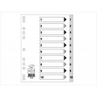 Index Divider, PVC Grey w/numbers,  A4, 1 - 10