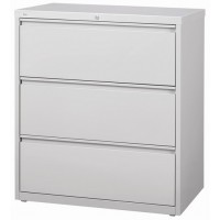 Metal Lateral Filing Cabinet 3-Drawer Grey