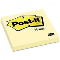 "Post-it® Notes 3"" x 3"", Canary Yellow, 100 Sh/Pad, [Ref: 654]"