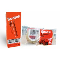 "3M Scotch 500 Transparent Tape, 3/4"" (18mm x 33m)"