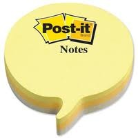 Post-it® 2007SP Speech Bubble Notes, 75 Sheets Yellow