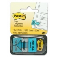"""Post-it® Flags 25x43mm, """"Intial Here"""" 50 Flags w/dispenser, [Ref: 680-13]"""