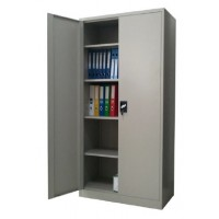 Full Height Steel Cupboard Swing Door 4-Shelves Grey