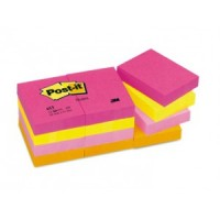 "Post-it® Notes 1.5""x2"" Neon Colors, 100 Sh/Pad, [Pack of 12 Pads]. [Ref: 653AN]"