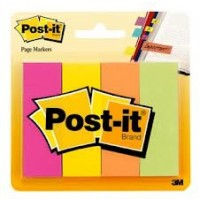 "Post-it® Page Markers, 4 x 50 sh/Pack, 7/8"" x 2 7/8"" Fluo Colors [671-4AF]"