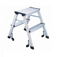 L4 Foldable 2-Step Ladder, Aluminum Height 45cm 150kg Capacity with Castors