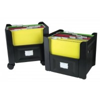 Aidata FB002 Mobile File Box, 2 Stackable Suspension File Boxes (Suitable for A4 & Letter Size)