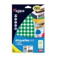 Agipa 114311 Round Lables, Ø15mm, A5 [960 Lables] Green