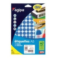 Agipa 114312 Round Lables, Ø15mm, A5 [960 Lables] Blue