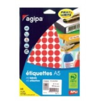 Agipa 114313 Round Lables, Ø15mm, A5 [960 Lables] Red