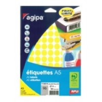 Agipa 114314 Round Lables, Ø15mm, A5 [960 Lables] Yellow