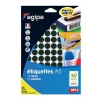 Agipa 114317 Round Lables, Ø15mm, A5 [960 Lables] Black