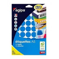Agipa 114322 Round Lables, Ø24mm, A5 [400 Lables] Blue
