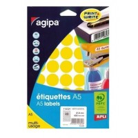 Agipa 114324 Round Lables, Ø24mm, A5 [400 Lables] Yellow
