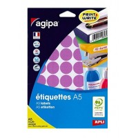 Agipa 114326 Round Lables, Ø24mm, A5 [400 Lables] Purple