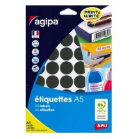 Agipa 114327 Round Lables, Ø24mm, A5 [400 Lables] Black