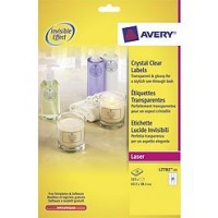 Avery® 7782-25 Crystal Clear Labels, 63.5 x 38.1 mm, [Pack of 25] 525 Labels