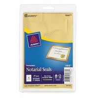 Avery® 5868 Print-or-Write Notarial Seal Labels, Gold, Pack of 44