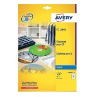 Avery C9660-25 High Gloss CD Labels, Ø 117 mm for Inkjet Printers PK/50