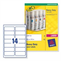 Avery® L7063-20 Heavy Duty Laser Labels, 99.1 x 38.1 mm, [Pack of 20] 280 Labels