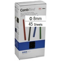 Plastic Binding Combs PK/100 8mm (45 Sheets) White