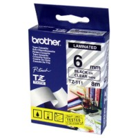 "Brother TZ-111 P-touch® Label Tape, 6mm, (1/4""), Black on Clear"