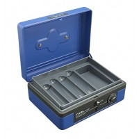 "Carl CB-8200 Cash Box Dual Lock 8"" Blue"