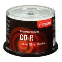 Imation CD-R 52x 700MB-80min White Inkjet Printable - 50pk spindle