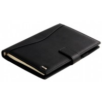 Deli 3164 Hard Cover Leather Business Notebook 100 Pages Black