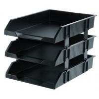 Deli 9206 3-Tier Stackable Document Tray Black