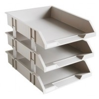 Deli 9206 3-Tier Stackable Document Tray Grey