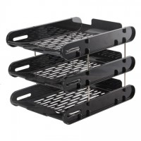 Deli 9207 3-Layer Document Tray Black