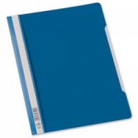 Durable 2570 Clear View Folder with Index Strip Extra Wide A4, Blue