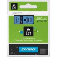 Dymo 40916,  D1 Tape,9mm x 7m, Black on Blue